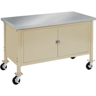 """72""""W x 30""""D Mobile Workbench with Security Cabinet - Stainless Steel Square Edge - Tan"""