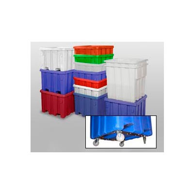 """MODRoto Bulk Container With Lid P291-B-5C - 44x44x32-1/2 Dumping Bracket and 5"""" Caster, Royal Blue"""