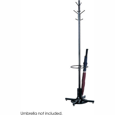 Coat Tree With Umbrella Stand -- Black
