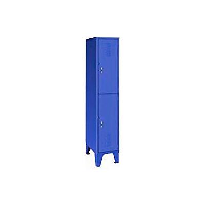 Pucel Extra Wide Welded Steel Lockers Double Tier 18x18x72 Blue