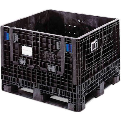 "ORBIS GP4048-34 BulkPak Folding Bulk Shipping Container - 48""L x 40""W x 34""H, 2000 Lb. Cap. Black"