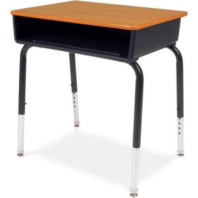 Virco® 785 Open Front Desk - Medium Oak Top/Black Book Box/Black Frame - Pkg Qty 2