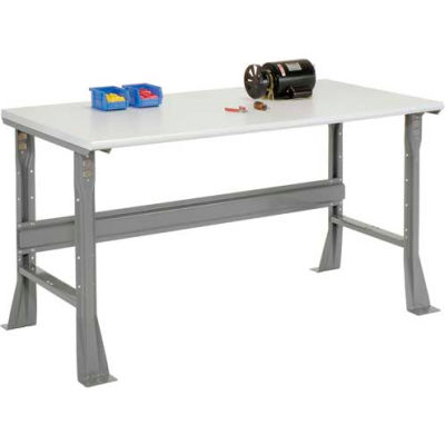 """72""""W x 30""""D x 34""""H Fixed Height Workbench C-Channel Flared Leg - ESD Safety Edge - Gray"""