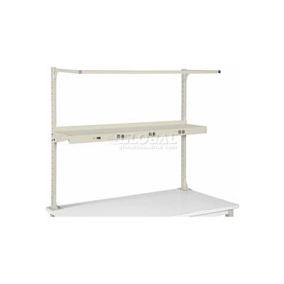 """Global Industrial™ Cantilever Upper Steel Shelf with 6 Single Outlets 72""""W - Tan"""