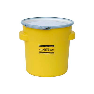 Eagle 1654 Plastic Salvage Drum - 20 Gallon - Yellow with Metal Lever-Lock Ring