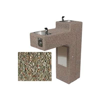 Concrete Dual Outdoor Drinking Fountain ADA Accessible - Gray Limestone