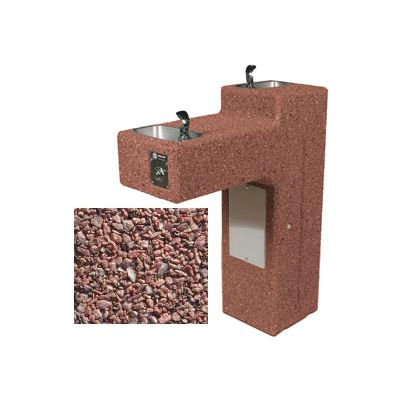 Outdoor Drinking Fountain - Concrete, Bi-Level,  ADA Accessible - Red Quartzite