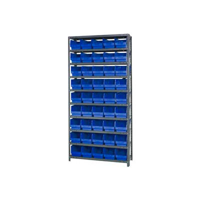 "Quantum 1875-204 Steel Shelving With 45 6""H Shelf Bins Blue, 36x18x75-10 Shelves"