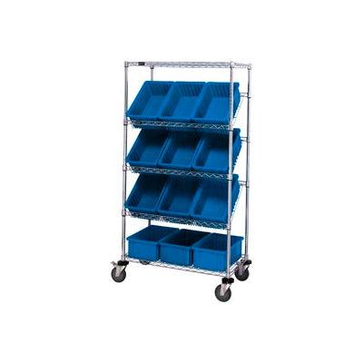 "Global Industrial™ Easy Access Slant Shelf Chrome Wire Cart 12 3-1/2""H Grid Bins Blue 36x18x63"