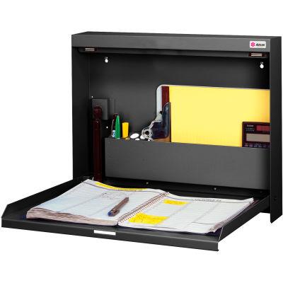 "Datum WallWrite® Folding Wall Mount Desk WW-101-T25 Non-Locking 20""W x 3-3/8"" x 16-3/8""H Black"
