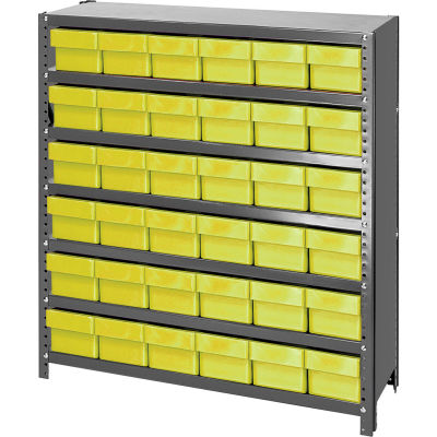 Quantum Cl1239 601 Closed Shelving Euro Drawer Unit 36x12x39 36 Euro Drawers Yellow 240948yl Globalindustrial Com