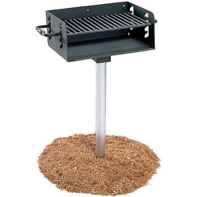 """ADA Rotating Pedestal Outdoor Grill With 3-1/2"""" Dia. Post(280 Sq. In. Cooking Surface)"""