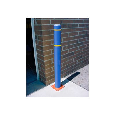 """4""""x 52"""" Bollard Cover - Blue Cover/Yellow Tapes"""