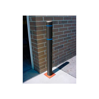 """4""""x 64"""" Bollard Cover - Black Cover/Blue Tapes"""