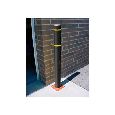 "4""x 64"" Bollard Cover - Black Cover/Yellow Tapes"