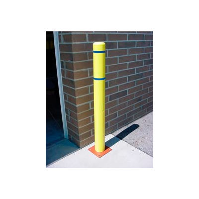 """7""""x 60"""" Bollard Cover - Yellow Cover/Blue Tapes"""