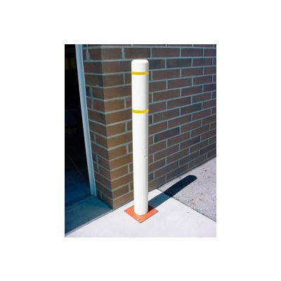 """7""""x 60"""" Bollard Cover - White Cover/Yellow Tapes"""