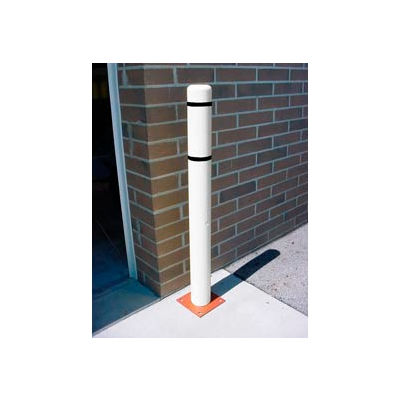 """7""""x 60"""" Bollard Cover - White Cover/Black Tapes"""