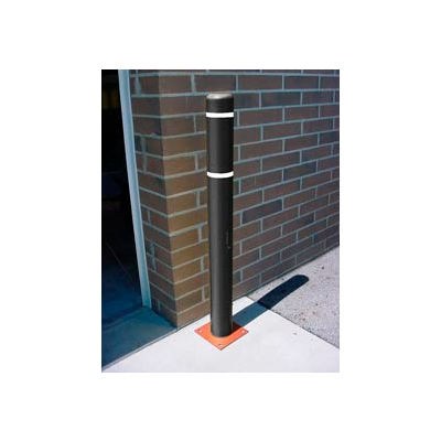 "7""x 72"" Bollard Cover - Black Cover/White Tapes"