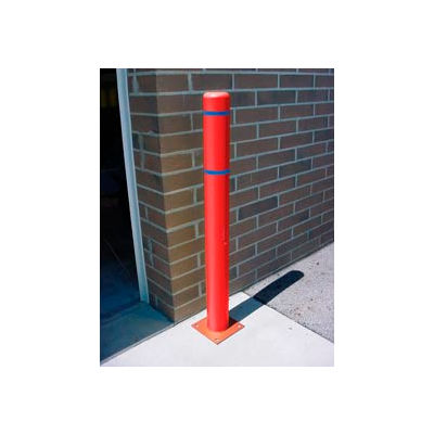 """8""""x 72"""" Bollard Cover - Red Cover/Blue Tapes"""