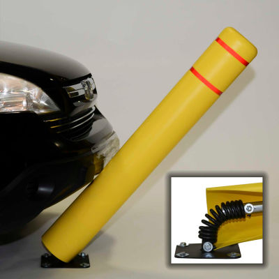 "72""H FlexBollard™ - Natural Ground Installation - Black Cover/Yellow Tapes"