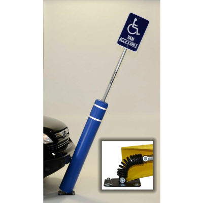 """52""""H FlexBollard™ with 8""""H Sign Post - Asphalt Installation - Blue Cover/Yellow Tapes"""