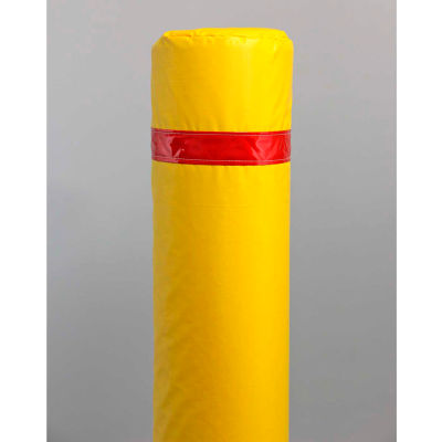 """50"""" Soft Polyethylene Bollard Cover -  Yellow Cover/Red Tapes"""