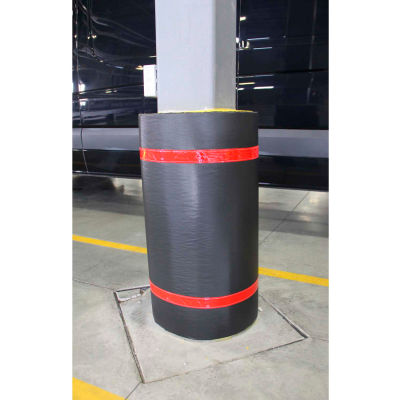 """44""""H X 48""""W Soft Nylon Column Protector -  Black Cover/Red Tapes - Pkg Qty 6"""