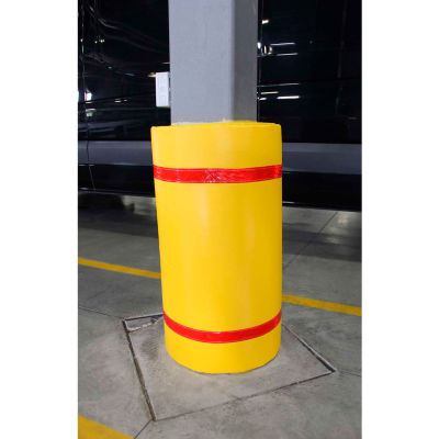 """44""""H x 72""""W Soft Nylon Column Protector - Yellow Cover/Red Tapes"""