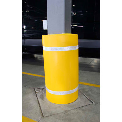"""44""""H X 72""""W Soft Nylon Column Protector - Yellow Cover/White Tapes - Pkg Qty 6"""