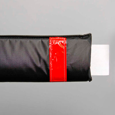 """72""""W Soft Nylon Gate Arm Cover - Black Cover/Red Tapes - Pkg Qty 6"""