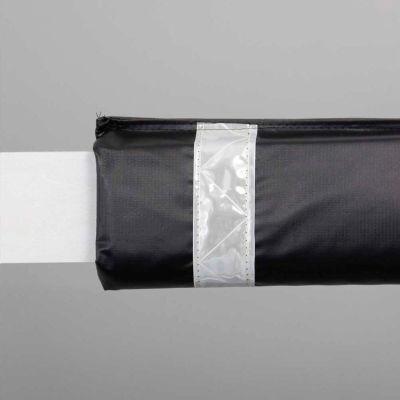 "72""W Soft Nylon Gate Arm Cover - Black Cover/White Tapes - Pkg Qty 6"