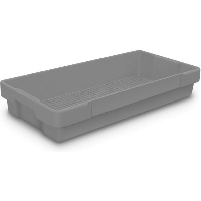 "Plastic Utility Tray Gray 26"" L X 12-1/2"" W X 4-1/2 H - Pkg Qty 5"