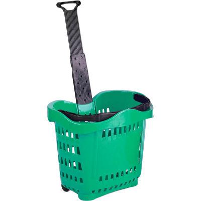 VersaCart ® Plastic Rolling Shopping Basket 43 Liter Green - Pkg Qty 6