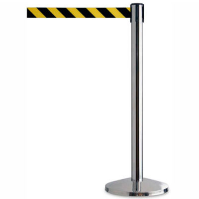 "Tensator Safety Crowd Control Queue Post, Polished Chrome With 7'6"" Black/Yellow Belt - Pkg Qty 2"