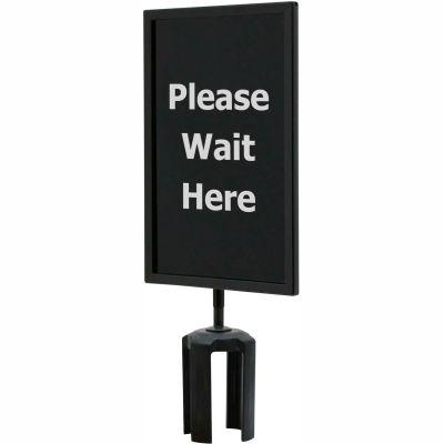 "Queueway Acrylic Sign, Double Sided, ""Please Wait Here"", 7""Wx11""H, Black/White"