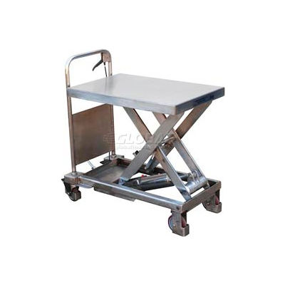 Stainless Steel Mobile Scissor Lift Table CART-400-PSS 400 Lb. Capacity