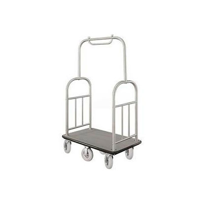 Glaro Ball Top Bellman Cart 48x25 Satin Aluminum Gray Carpet, 6 Pneumatic Wheels
