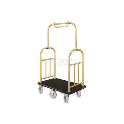 Glaro Ball Top Bellman Cart 48x25 Satin Brass Black Carpet, 6 Pneumatic Wheels