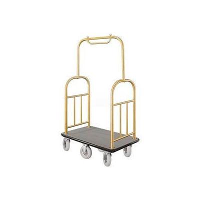 Glaro Ball Top Bellman Cart 48x25 Satin Brass Gray Carpet, 6 Pneumatic Wheels