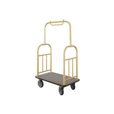 Glaro Ball Top Bellman Cart 40x25 Satin Brass Gray Carpet, 4 Rubber Wheels