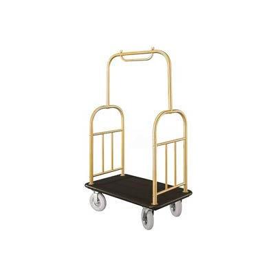 Glaro Ball Top Bellman Cart 40x25 Satin Brass Black Carpet, 4 Pneumatic Wheels