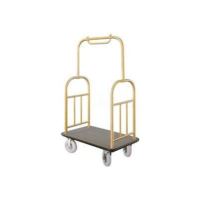 Glaro Ball Top Bellman Cart 40x25 Satin Brass Gray Carpet, 4 Pneumatic Wheels
