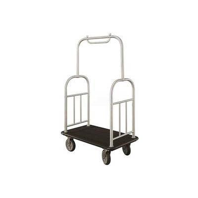 Glaro Ball Top Bellman Cart 48x25 Satin Aluminum Black Carpet, 4 Rubber Wheels