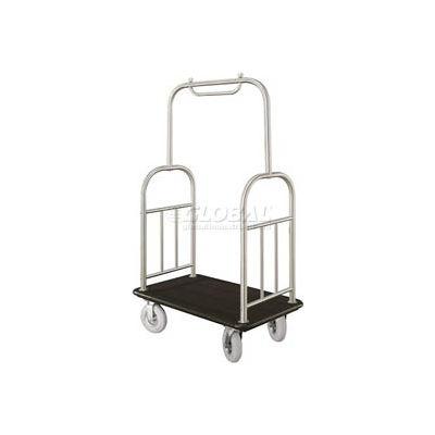 Glaro Ball Top Bellman Cart 48x25 Satin Aluminum Black Carpet, 4 Pneumatic Wheels