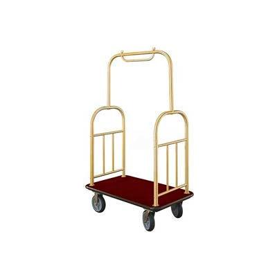 Glaro Ball Top Bellman Cart 48x25 Satin Brass Burgundy Carpet, 4 Rubber Wheels