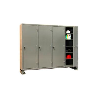 Strong Hold® Multi-Shift Personal Locker 86-MS-2420 - Single Tier 98x24x78 4 Door Gray
