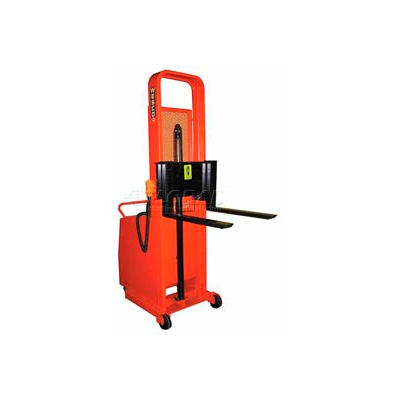 "Wesco® Battery Powered Lift Counter Balanced Stacker 261038 64""H 25"" Forks"