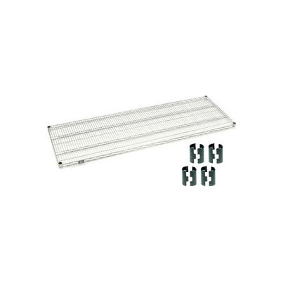Nexelate® Silver Epoxy Wire Shelf 72 x 24 with Clips