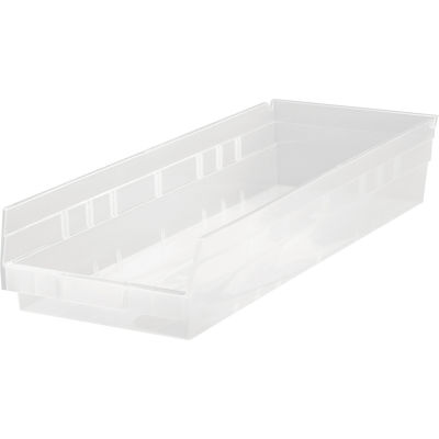 "Plastic Nesting Storage Shelf Bin QSB114CL 8-3/8""W x 23-5/8""D x 4""H Clear - Pkg Qty 6"